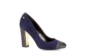 C. Wonder Navy Suede Glitter Cap Toe Pump