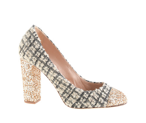 J. Crew Etta Tweed and Glitter Pumps