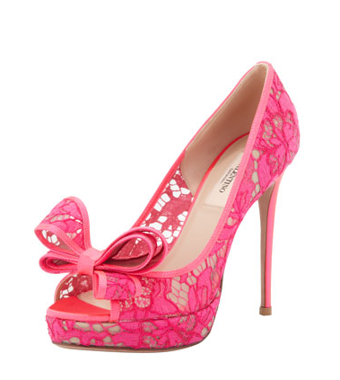 Valentino Pink Lace Peep Toe